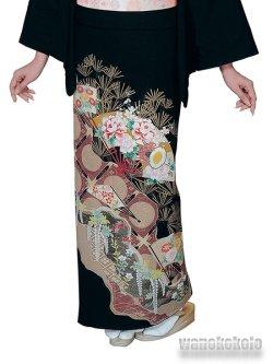 画像3: 洗える着物 紋付き黒留袖「五三の桐」通紋 H・L(アッシュ・エル) 檜扇柄 HLK-3