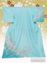 洗える着物  国産単衣附下 フリーサイズ 水色系/辻が花柄 HTK-255