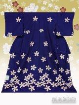 洗える着物  国産単衣附下 フリーサイズ 紺系/桜柄 HTK-292