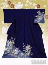 洗える着物  国産単衣附下 フリーサイズ 紺系/雪輪に椿・草花柄 HTK-296