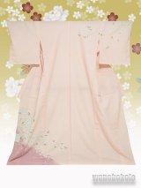 洗える着物  国産単衣附下 フリーサイズ ピンク系/桜柄 HTK-297
