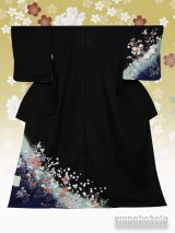 洗える着物  国産単衣附下 フリーサイズ 黒系/草花柄 HTK-310