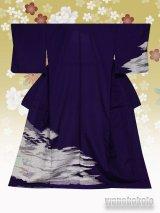 洗える着物  国産単衣附下 フリーサイズ 紫系/霞雲柄 HTK-307
