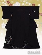 洗える着物  国産単衣附下 フリーサイズ 墨黒系/花丸・幾何学柄(ワンポイント刺繍)HTK-318