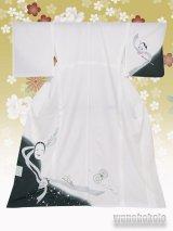 洗える着物  国産単衣附下 フリーサイズ 白系/能面・般若柄 HTK-276