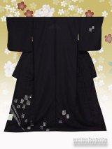 洗える着物  国産単衣附下 フリーサイズ 墨黒系/兎・市松柄(ワンポイント刺繍)HTK-316