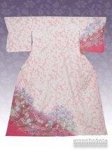 洗える着物  国産袷附下 フリーサイズ ピンク系/辻が花柄 KTK-49
