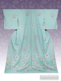 画像1: 洗える着物  国産袷附下 フリーサイズ ブルーグリーン系/桜柄 KTK-122