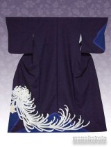 洗える着物  国産袷附下 フリーサイズ 濃紺紫系/菊花柄 KTK-2