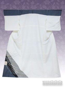 画像1: 洗える着物  国産袷附下 フリーサイズ 白系/籠目・ライン柄 KTK-135