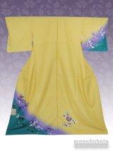 洗える着物  国産袷附下 フリーサイズ 黄色系/洋花柄 KTK-53
