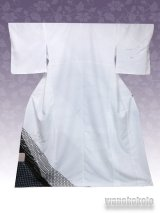 洗える着物  国産袷附下 フリーサイズ 白系/籠目・ライン柄 KTK-18