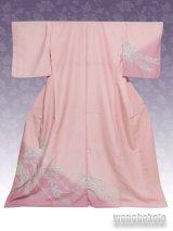 洗える着物  国産袷附下 フリーサイズ ピンク系/草花柄 KTK-97