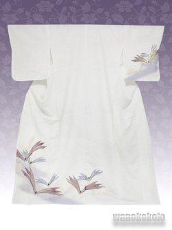 画像1: 洗える着物  国産袷附下 フリーサイズ 白系/金彩松葉柄 KTK-133