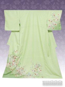 画像1: 洗える着物  国産袷附下 フリーサイズ 黄緑系/雪輪に椿・草花柄 KTK-140