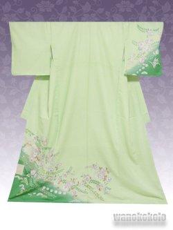 画像1: 洗える着物  国産袷附下 フリーサイズ 黄緑系/辻が花柄 KTK-148