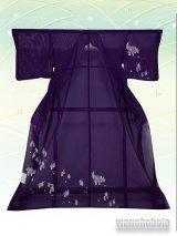 洗える着物  国産絽附下 フリーサイズ 紫系/大名行列柄 KRT-67