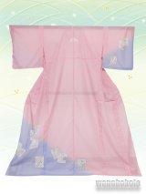 洗える着物  国産絽附下 フリーサイズ ピンク系/色紙柄 KRT-60