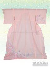 洗える着物  国産絽附下 フリーサイズ ピンク系/蝶柄 KRT-15