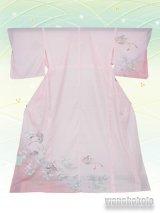 洗える着物  国産絽附下 フリーサイズ 薄ピンク系/巻物柄 KRT-58