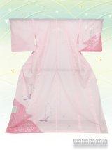 洗える着物  国産絽附下 フリーサイズ ピンク系/鳥・花柄 KRT-76
