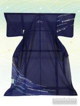 洗える着物  国産絽附下 フリーサイズ 紺系/幾何学柄 KRT-63