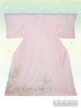 洗える着物  国産絽附下 フリーサイズ 薄ピンク系/草花・色紙柄 KRT-55
