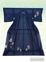 洗える着物  国産絽附下 フリーサイズ 藍色系/わらべ柄 KRT-70