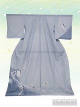 洗える着物  国産絽附下 フリーサイズ グレー系/能面・般若柄 KRT-106