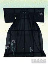 洗える着物  国産絽附下 フリーサイズ 黒系/雪輪・花丸柄 KRT-102