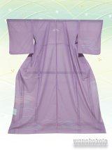 洗える着物  国産絽附下 フリーサイズ 藤紫系/幾何学柄 KRT-103