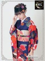 洗える振袖■H・L(アッシュ・エル)絵羽柄 ■紫系/桜・古典柄 No.14