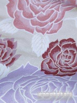 画像3: 振袖向きポリエステル袋帯■A-STYLE■仕立て上がり品 パールホワイト系/薔薇柄 104