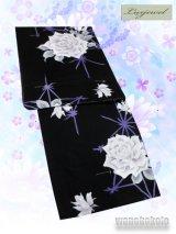 Luxjewel(ラグジュエル)レディースブランド浴衣 黒系/薔薇・麻の葉柄 Lux-4