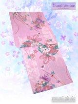 Yumi Katsura レディースブランド浴衣 ピンク系/花束・矢絣柄 YK-2