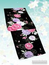レディース変り織浴衣 EXTEND「F」黒系/八重桜柄 KWDF-3