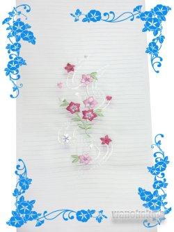 画像2: 国産洗える絽刺繍半衿(ポリエステル) 白系/桔梗・小花(ピンク系)柄 PRSH-130