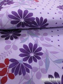 画像2: レディース浴衣 平織 fufufu「F」藤紫系/マーガレット・萩柄 HOKF-15