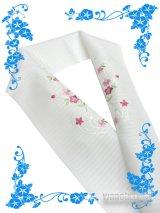 国産洗える絽刺繍半衿(ポリエステル) 白系/桔梗・小花(ピンク系)柄 PRSH-130