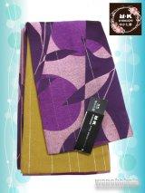 浴衣向き半幅帯(小袋帯)R・K(リョウコキクチ)赤紫系/幾何学柄(ラメ入) YKB-101