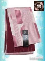 浴衣向き半幅帯(小袋帯)R・K(リョウコキクチ)ピンク系/幾何学柄(ラメ入) YKB-112
