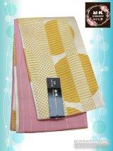 浴衣向き半幅帯(小袋帯)R・K(リョウコキクチ)黄色系/幾何学柄(ラメ入) YKB-111