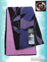浴衣向き半幅帯(小袋帯)R・K(リョウコキクチ)黒系/幾何学柄(ラメ入) YKB-102