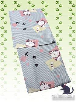 画像1: 洗える着物 単衣の着物 希少 「L」白・グレー系/縞・色紙に猫 HHL-96