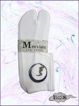 男性用ストレッチ刺繍足袋 Fサイズ 白系/蝙蝠柄 24.0cm〜26.0cm対応