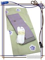 洗える着物(袷小紋)Mサイズ+半幅帯(小袋帯)+ストレッチ刺繍足袋★セット 虹-116