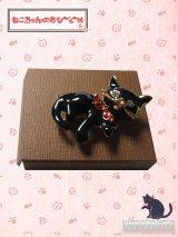あったらかわいい帯留め 日本製 黒猫柄 ODM-27