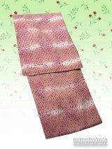 洗える着物 単衣の着物 希少 「L」赤茶系/縞にドット柄 HHL-188