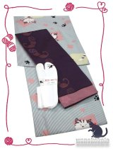 洗える着物(袷小紋)Lサイズ+半幅帯(小袋帯)+ストレッチ刺繍足袋セット 虹-109