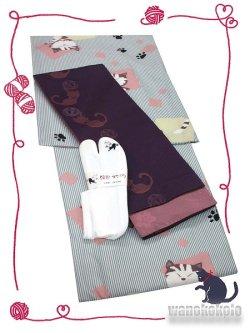 画像1: 洗える着物(袷小紋)Lサイズ+半幅帯(小袋帯)+ストレッチ刺繍足袋セット 虹-109